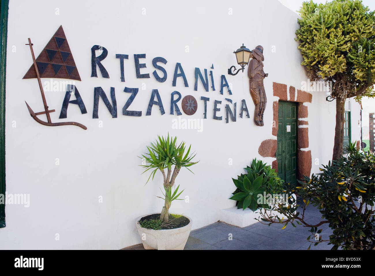Arts & crafts store in a Canarian house, Teguise, Lanzarote, Canary Islands, Spain, Europe - Stock Image