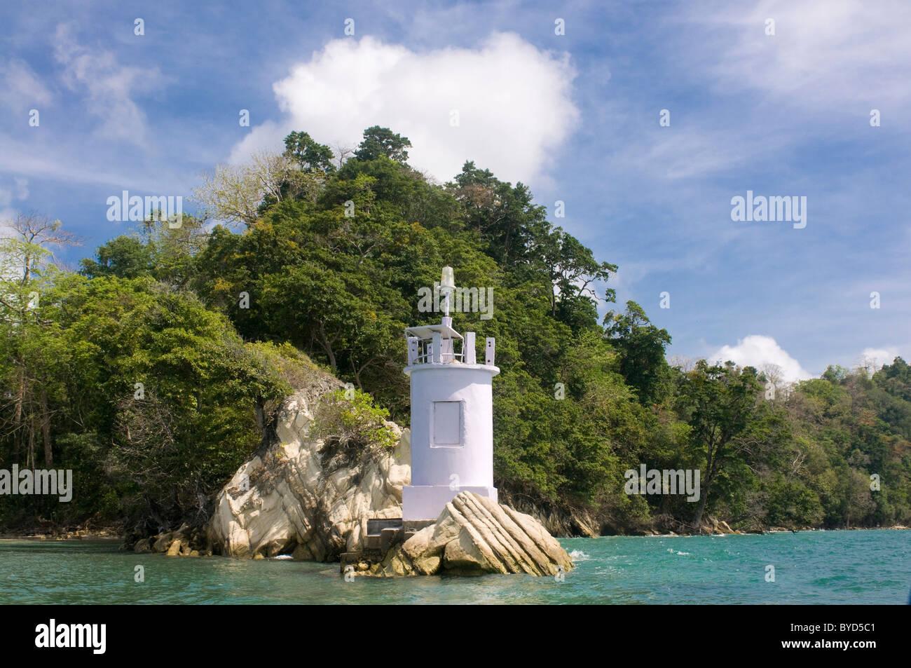 Small lighthouse on the coast, Havelock Island, Andaman Islands, India, Asia - Stock Image