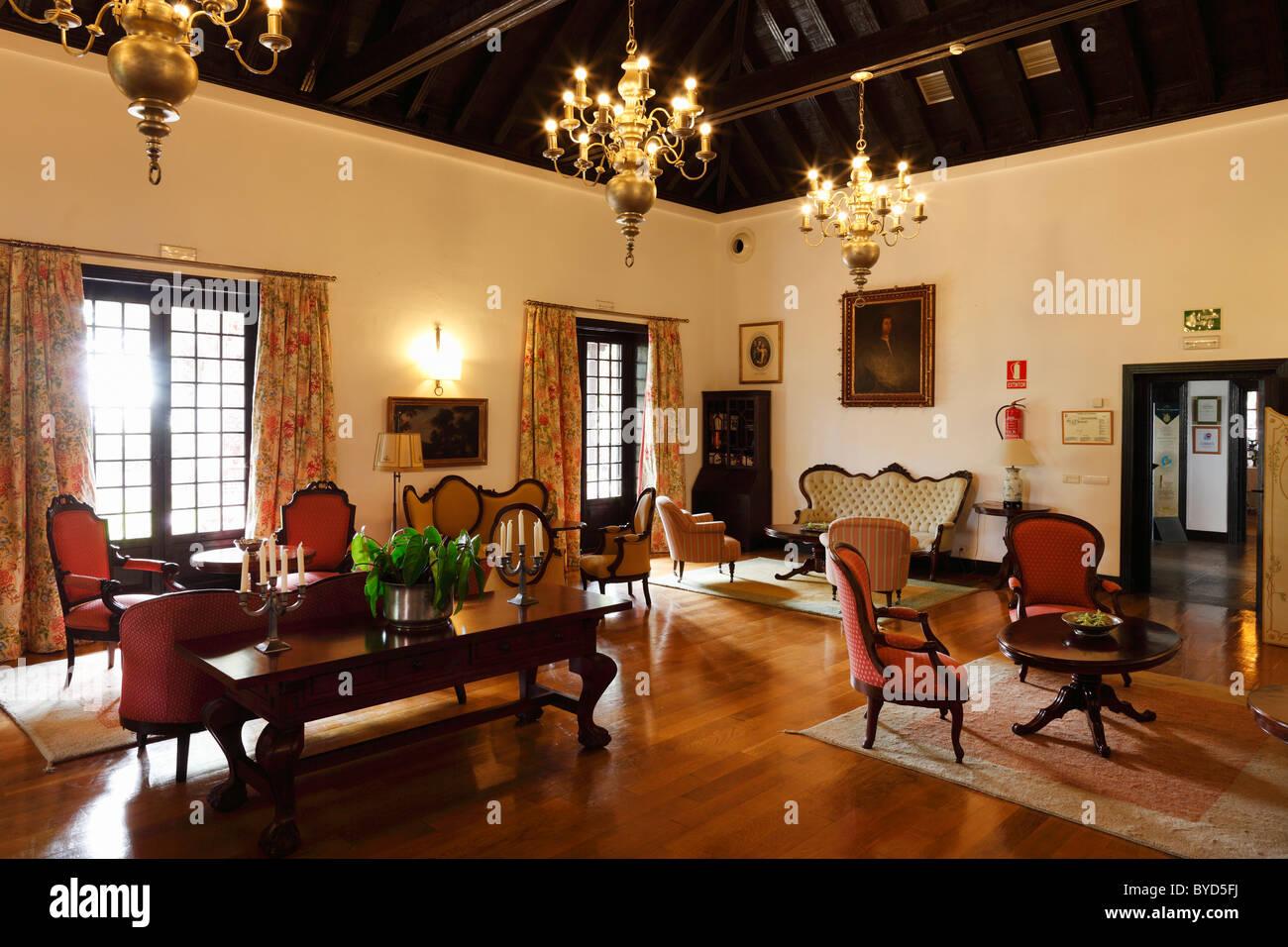 Salon at the Hotel Parador de Turismo Conde de La Gomera, San Sebatián de La Gomera, Canary Islands, Spain, - Stock Image