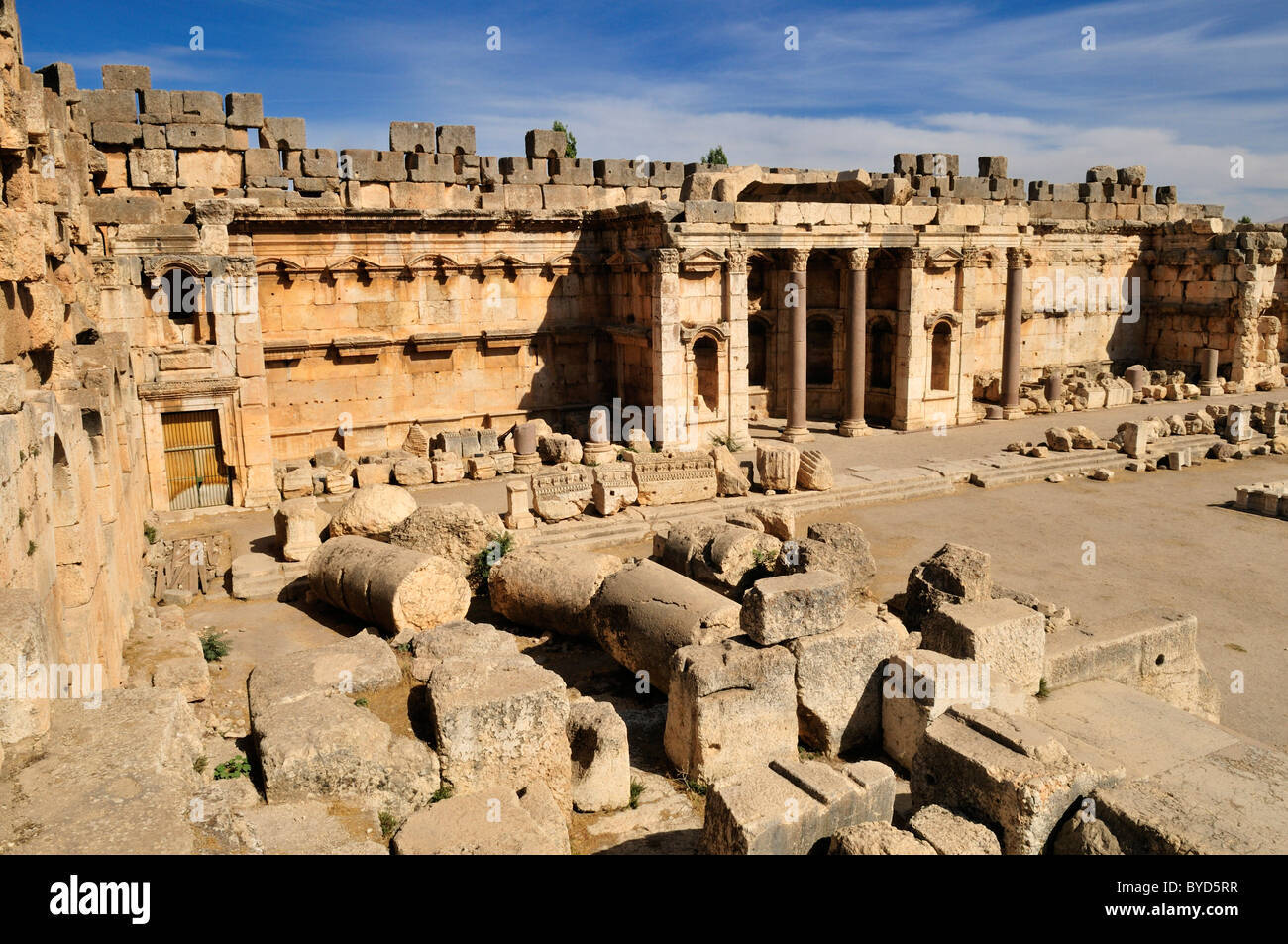 Antique ruins at the archeological site of Baalbek, Unesco World Heritage Site, Bekaa Valley, Lebanon, Middle East, - Stock Image