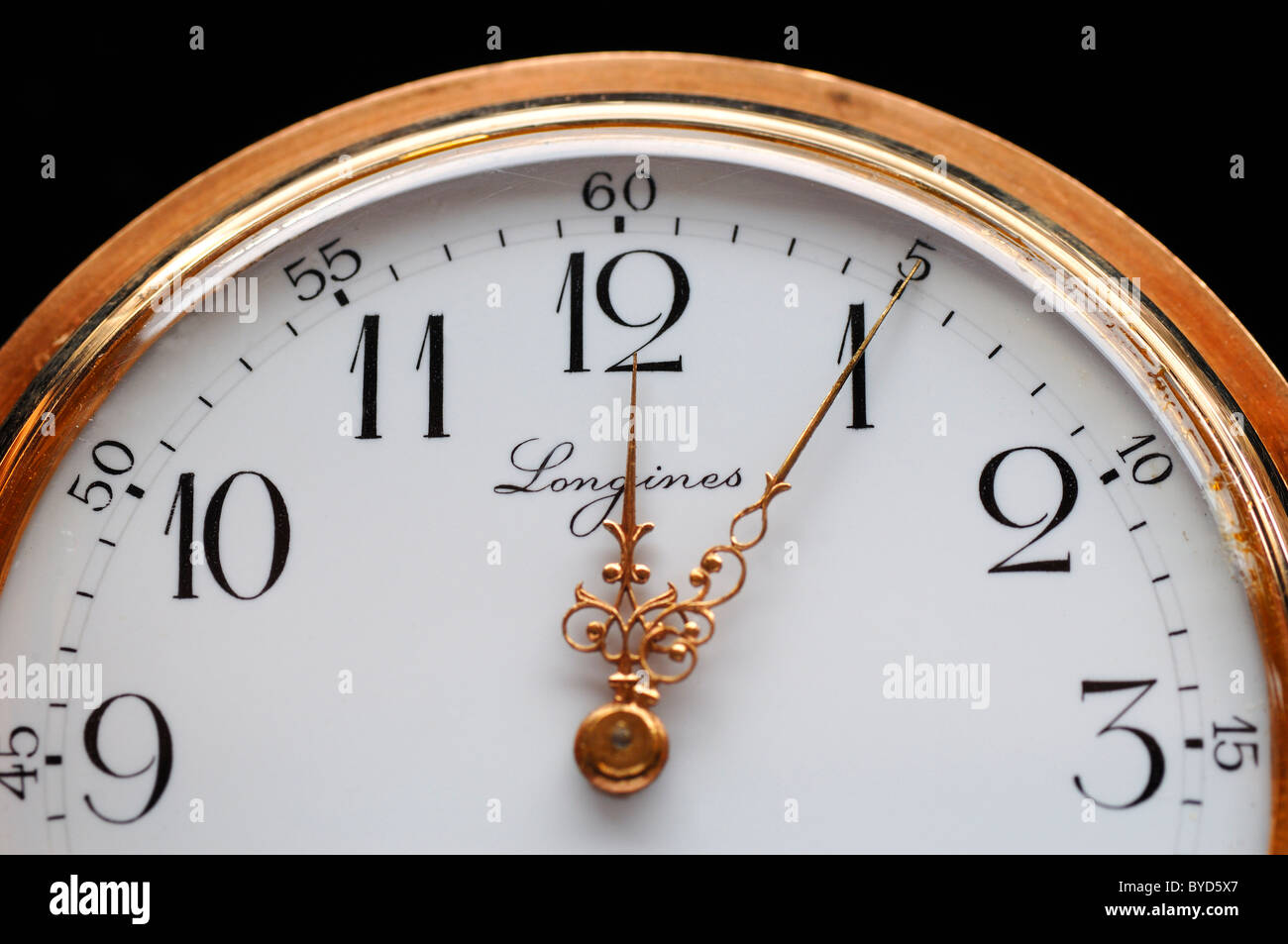Longines gold plated pocket watch, five to twelve, 19th century, detail Stock Photo
