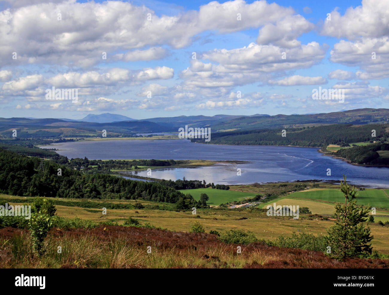 UK Scotland Highland Sutherland Dornoch Firth from the Struie Hill Stock Photo