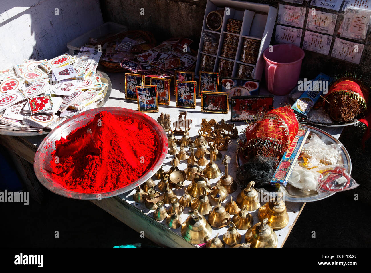 Devotional items on a stand, Golu Devta Temple or Golu Devata Temple, Temple of the Bells, a temple for the God - Stock Image