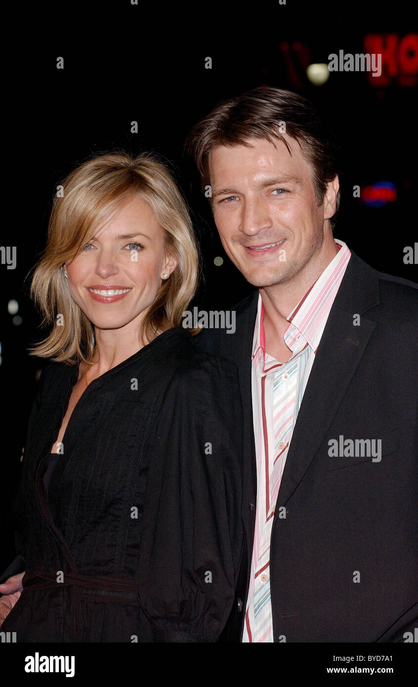 Nathan Fillion and guest Los Angeles Premiere of 'Smokin' Aces' held at the Grauman's Chinese Theatre - Stock Image