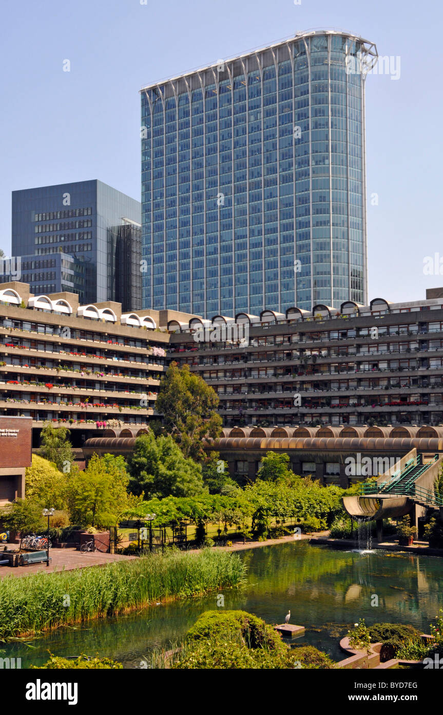 City Of London Barbican Water Garden Around Homes In Apartment Blocks Stock Photo Alamy