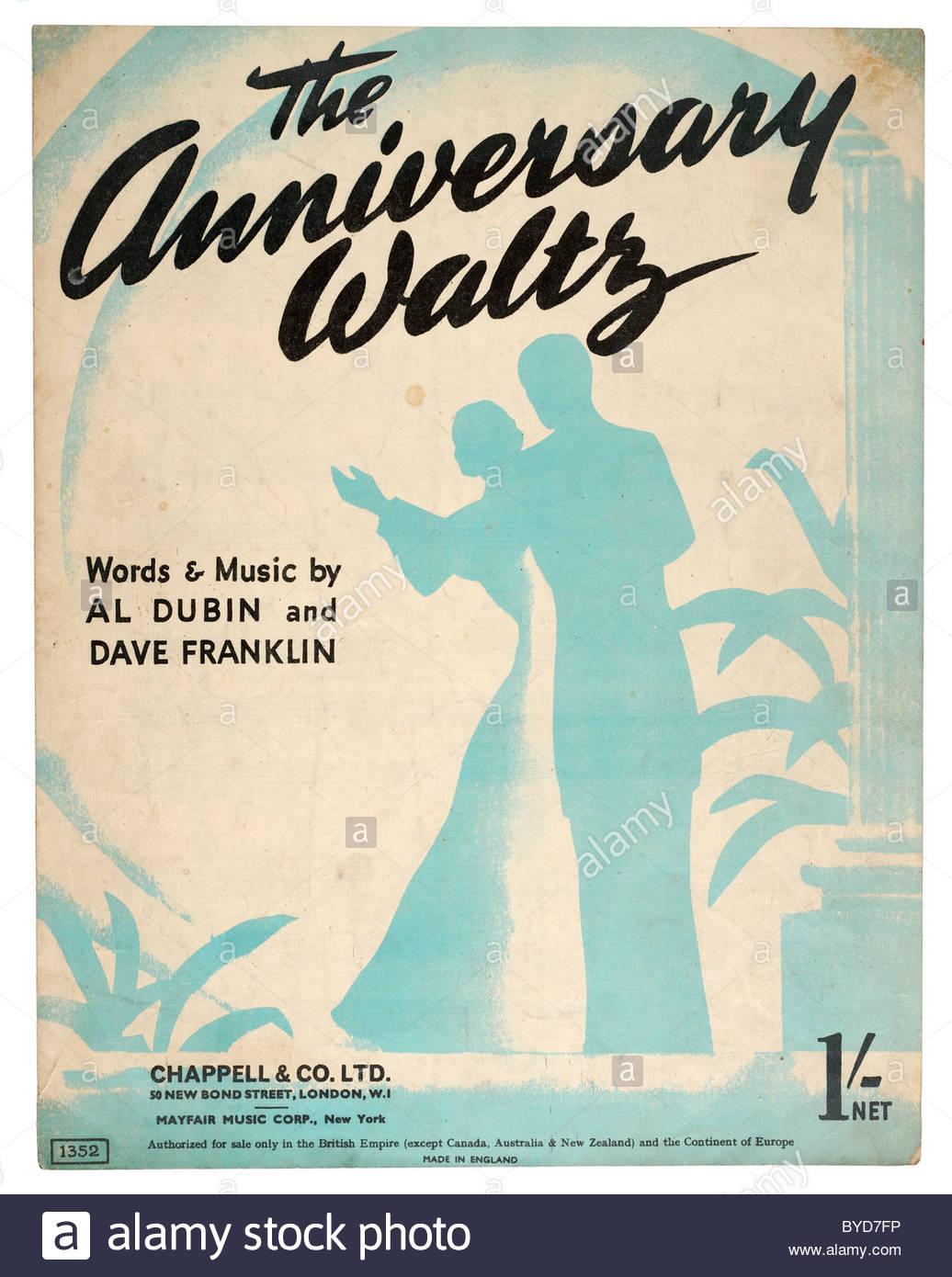 Old Sheet Music Front Cover From 1941 Titled The Anniversary Waltz Words And By Al Dubin Dave Franklin