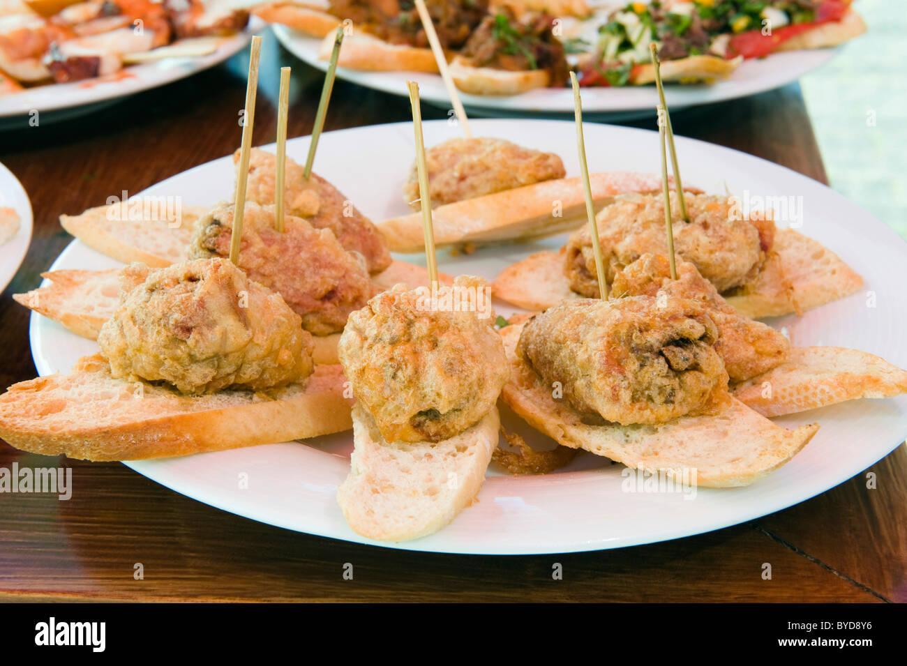 Tapas, Spanish food, Teguise, Lanzarote, Canary Islands, Spain, Europe Stock Photo