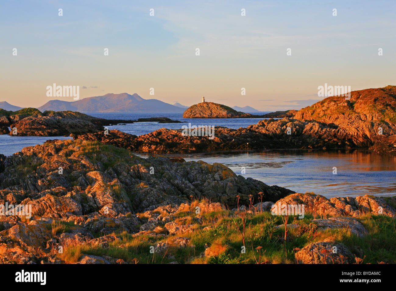 UK Scotland Inner Hebrides The Islands north of Coll The Cairns of Coll in evening light - Stock Image