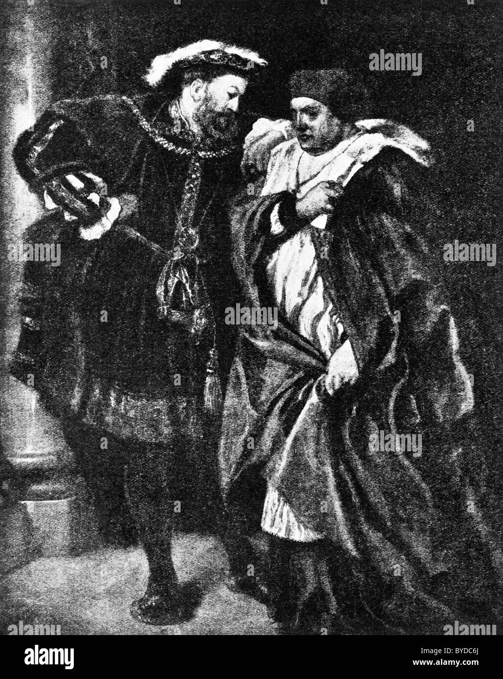 King Henry VIII talking to Cardinal Thomas Wolsey in a painting by Sir John Gilbert circa 1888 entitled 'Ego - Stock Image