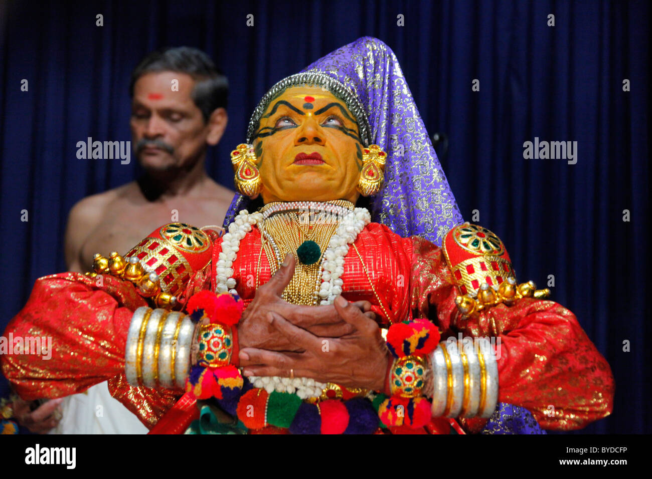 Kathakali, a classical Indian dance-drama, temple dance, Kerala Kathakali Centre, Kochi, Fort Cochin district, Ernakulam - Stock Image