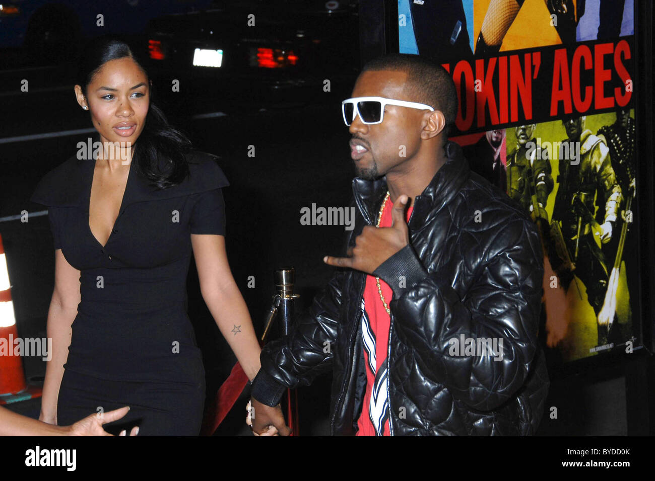 Kanye West and guest World Premiere of 'Smokin' Aces' held at the Grauman's Chinese Theatre Hollywood, - Stock Image