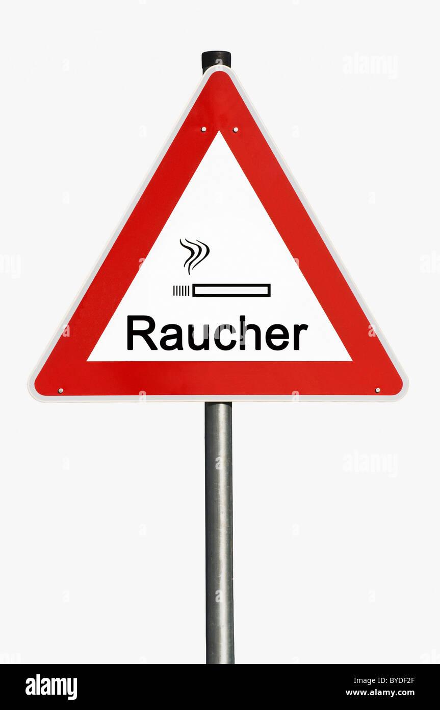Danger sign, Raucher or smoker, composing - Stock Image
