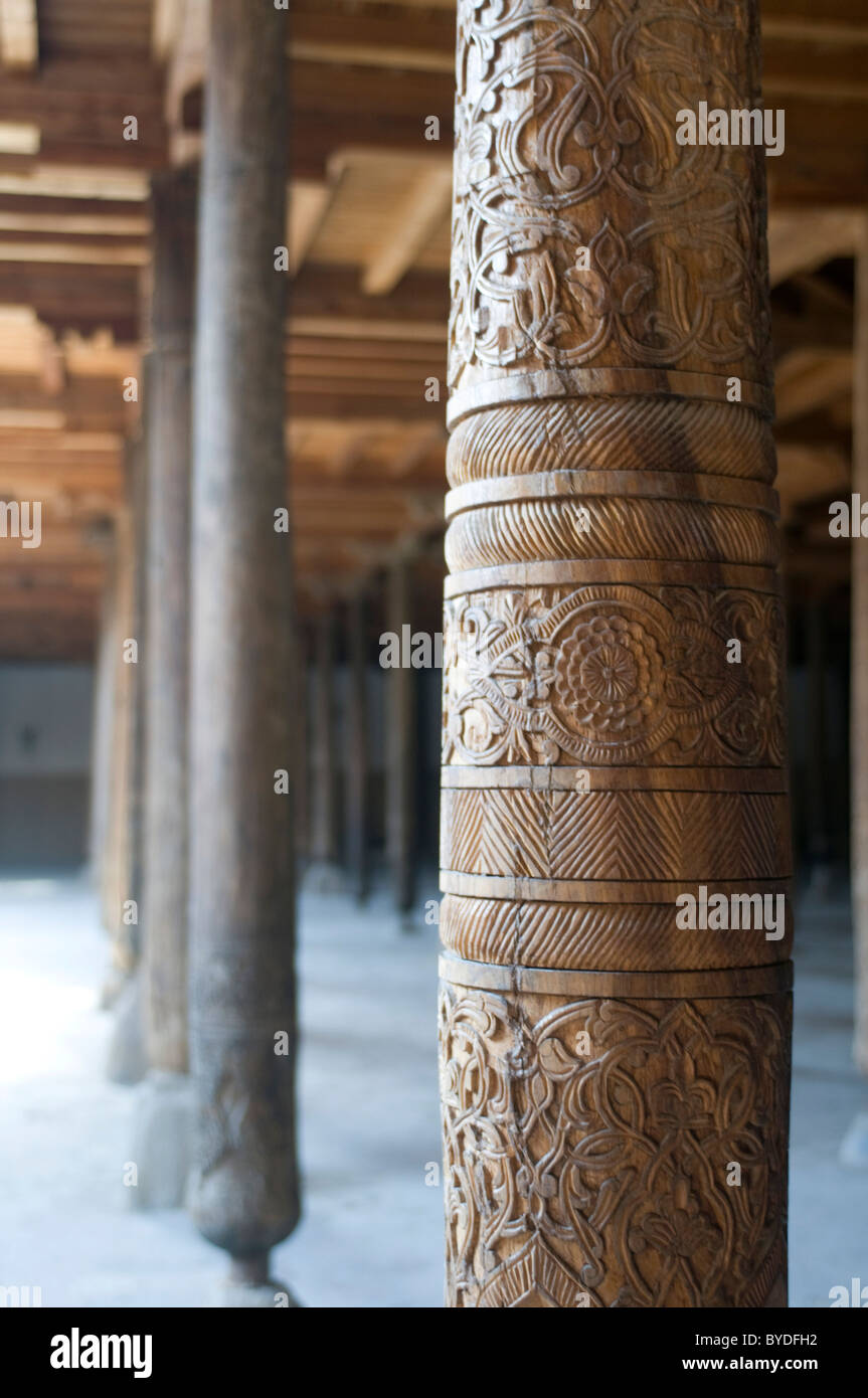 Wooden pillars in the Juma mosque, Khiva, Uzbekistan, Central Asia Stock Photo