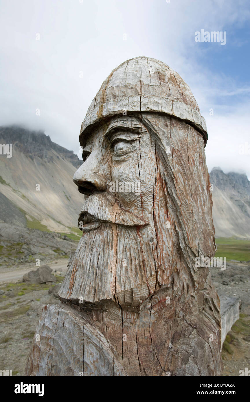 Viking carved out of wood, bust, Stokksnes, Iceland, Scandinavia, Northern Europe Stock Photo