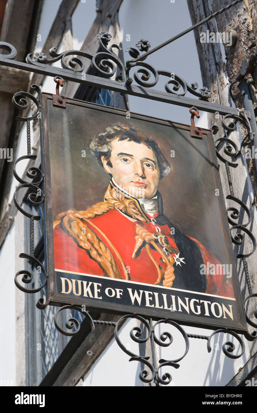 The Signboard of The Duke of Wellington Pub, Bugle Street, Old Town, Southampton, Hampshire, England, United Kingdom, - Stock Image