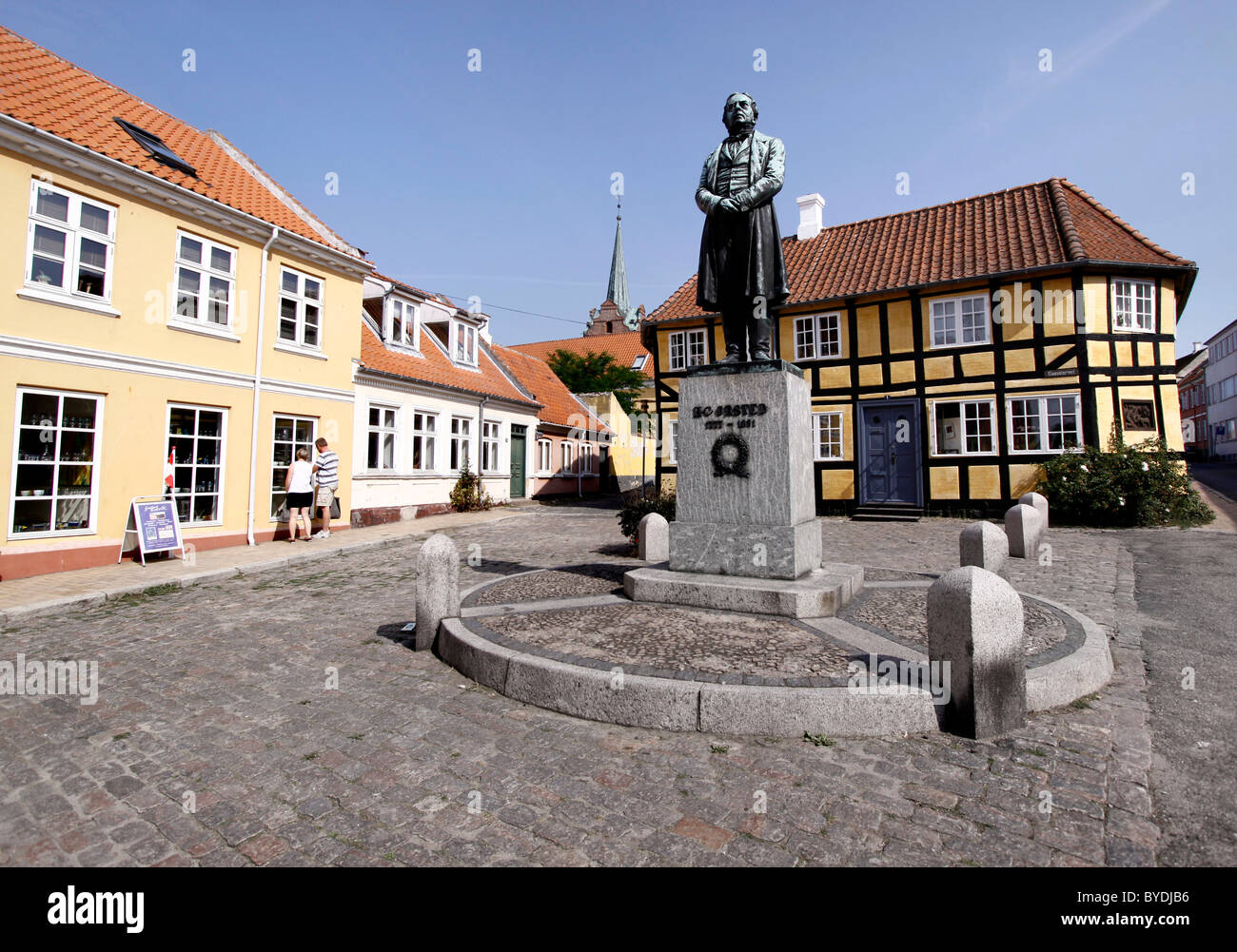 Sqare in Rudkøbing with a statue of the physicist and chemist Hans Christian Ørsted, Langeland, Denmark, - Stock Image