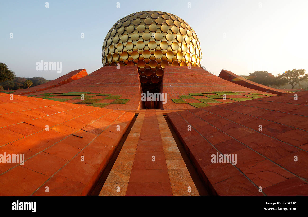 Morning at Matrimandir, mystical place, temple and largest sanctuary in Auroville, Sri Aurobindo Ashram, Pachayankuppam - Stock Image