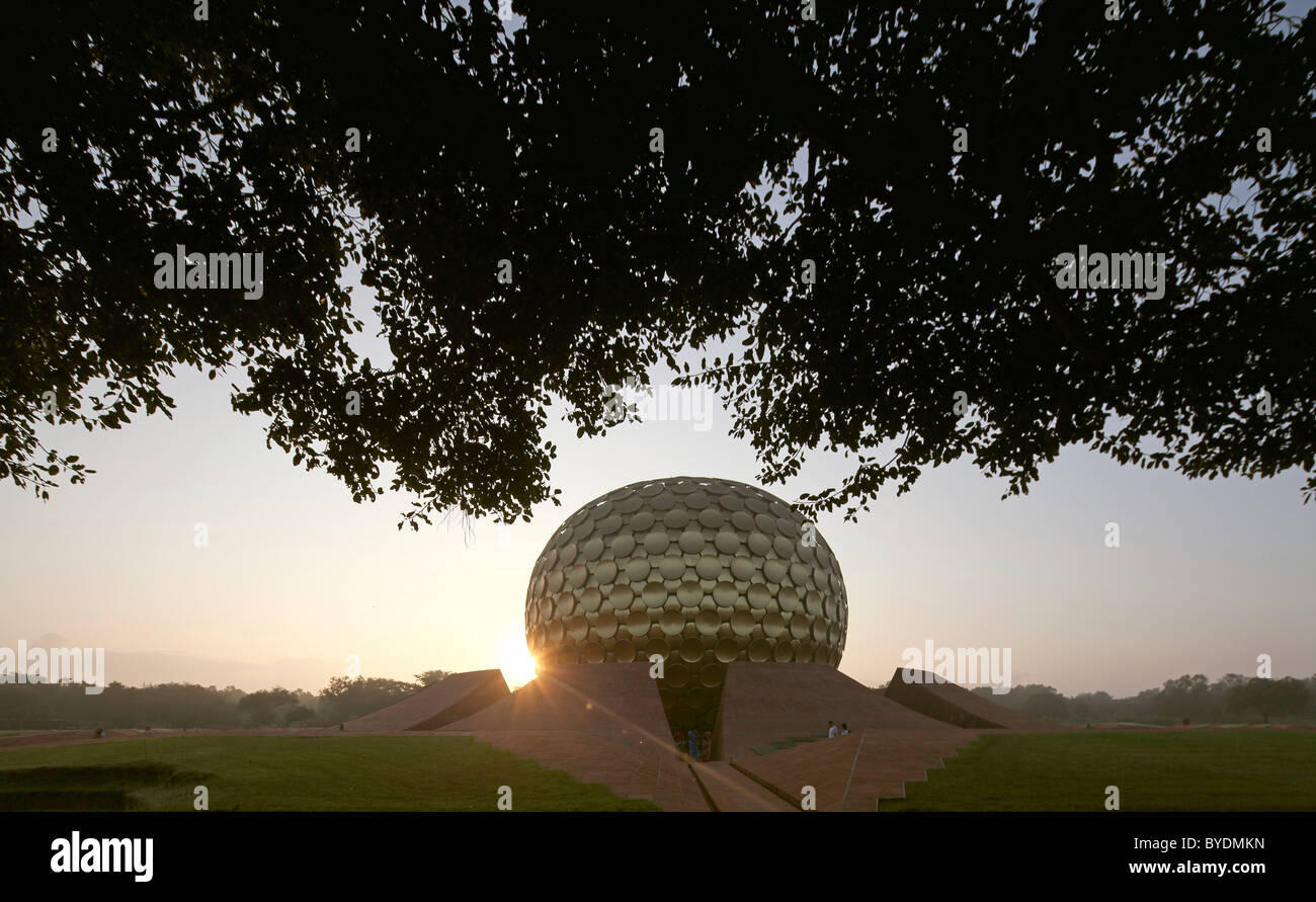 Sunrise at Matrimandir, temple, mystical place, meditation place, largest sanctuary in Auroville, Sri Aurobindo - Stock Image