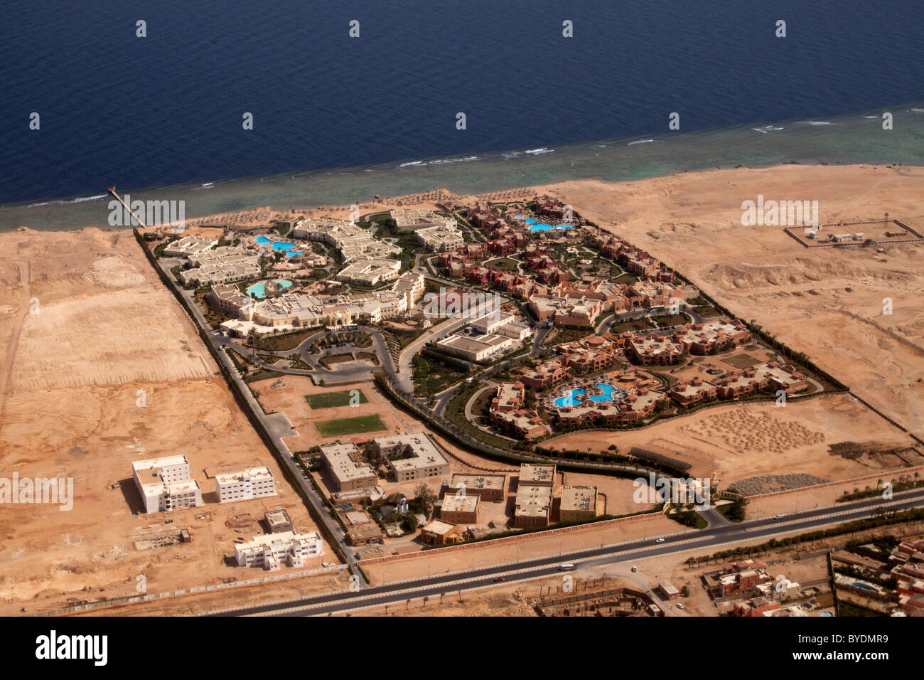Aerial view, hotel complex on the beach of Sharm El Sheik, Sinai, Egypt, Africa - Stock Image
