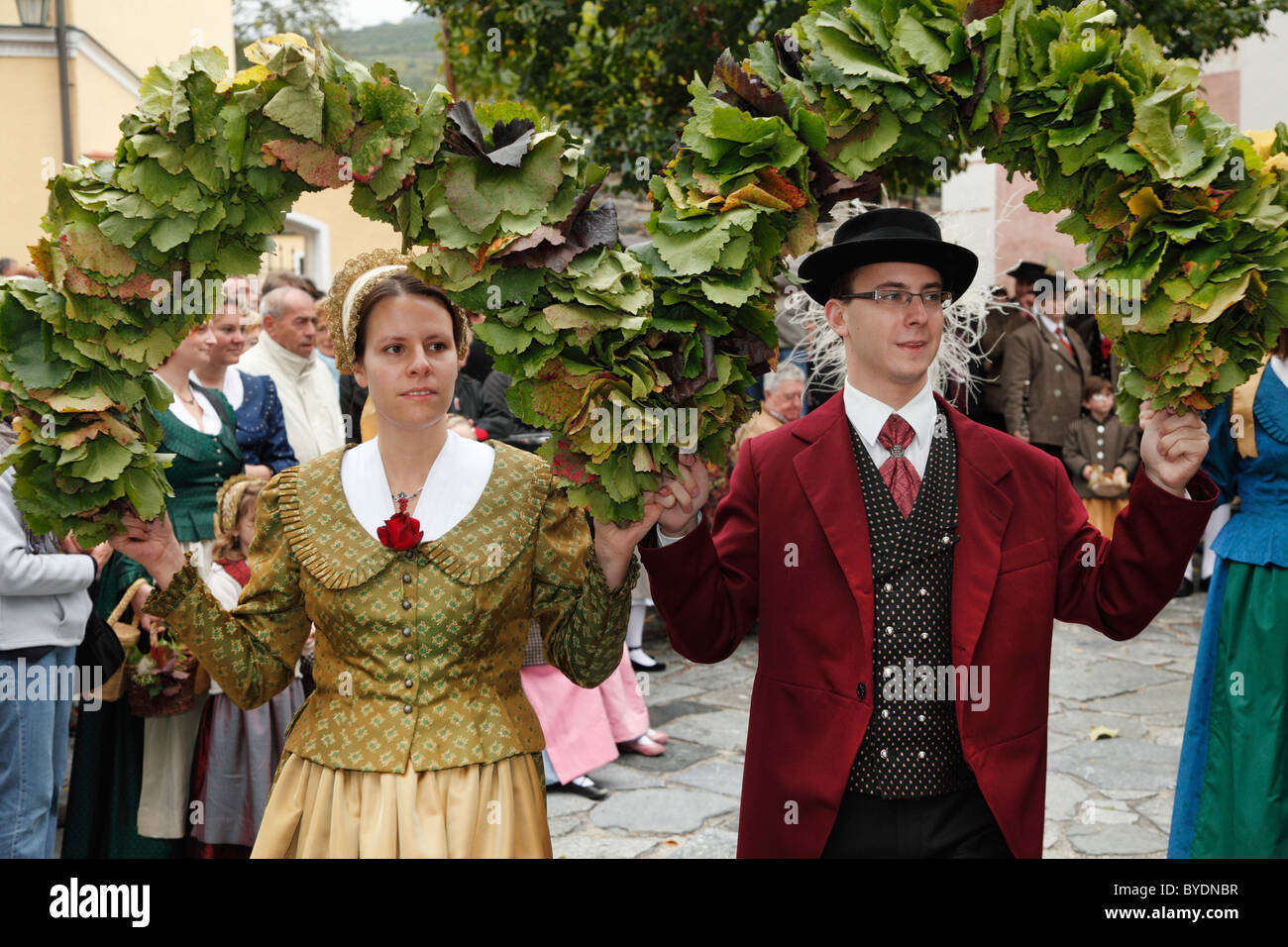 Folk dancers at the Thanksgiving Festival, Spitz, Wachau, Waldviertel, Forest Quarter, Lower Austria, Austria, Europe Stock Photo