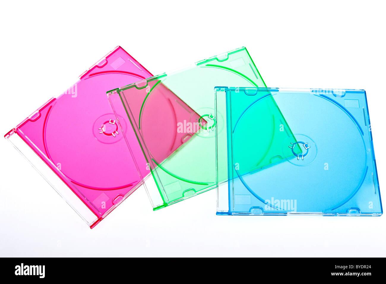 Coloured slim CD jewel cases - Stock Image