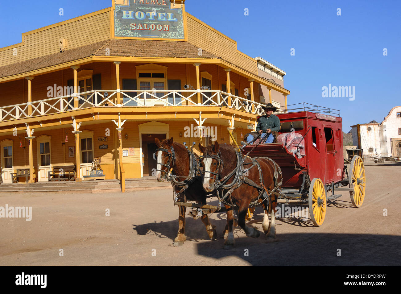 The film sets at The Old Film Studios, situated near Tucson, Arizona, USA, are nowadays mostly used to attract tourists. - Stock Image