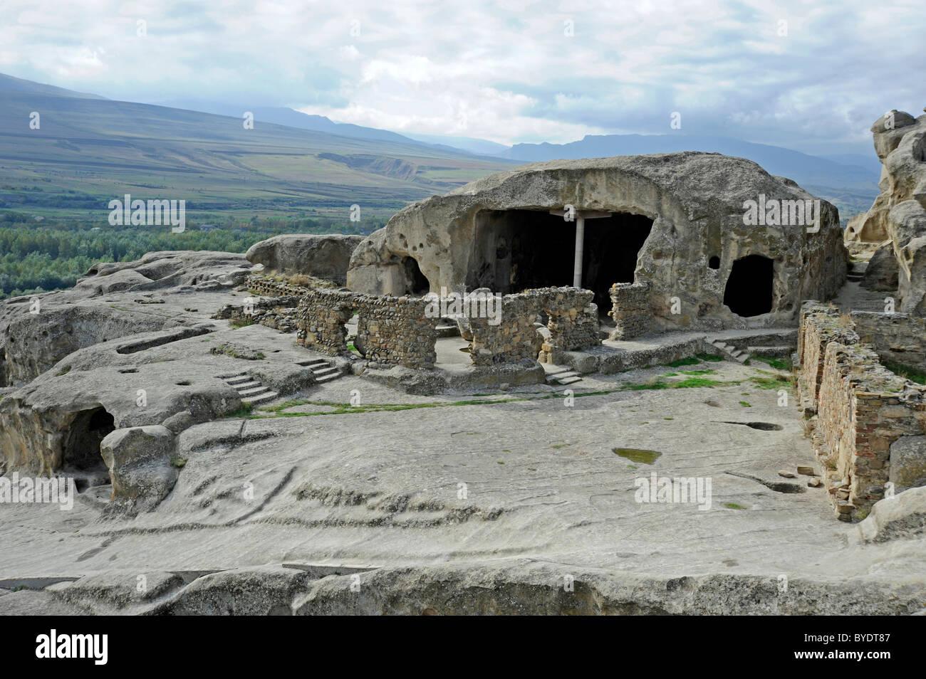 Cave complex town of Uplistsikhe, since 10th Century BC, Georgia, Eurasia - Stock Image