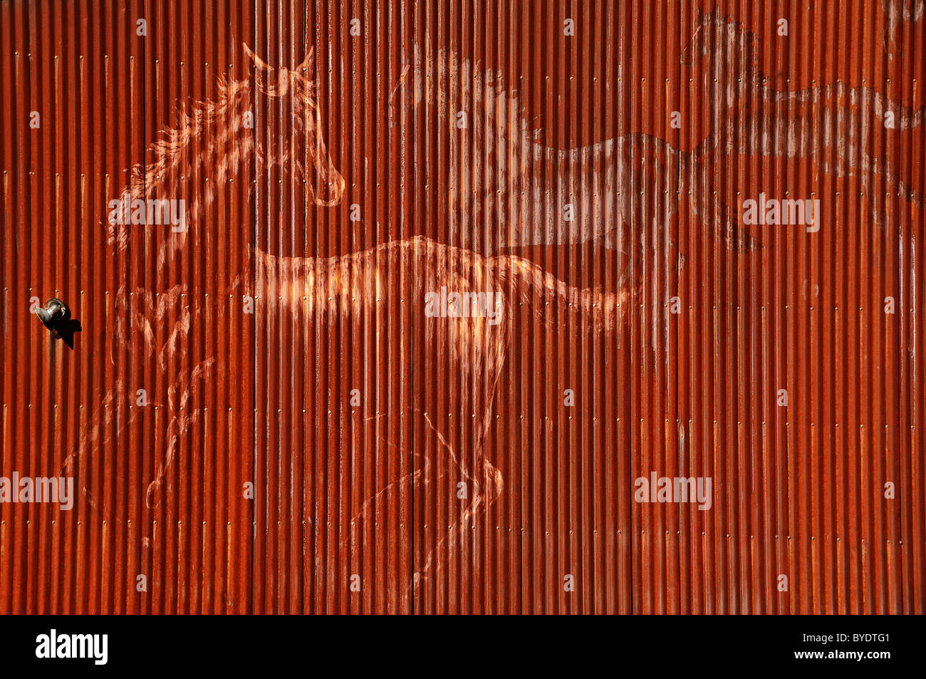 Graffiti painted on the side of a  red corrugated iron barn, seen near Tucson, Arizona, United States of America - Stock Image