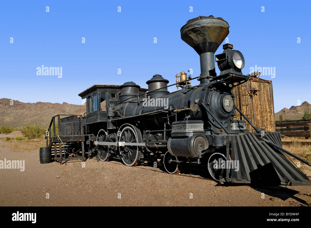 Old Western railway engine now reposed at The Old Film Studios situated near Tucson, Arizona, United States of America - Stock Image