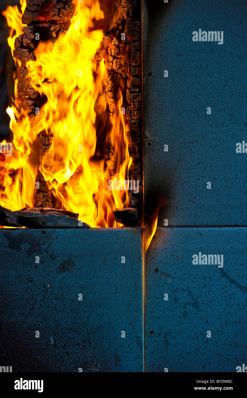 Burning wood panels - Stock Image
