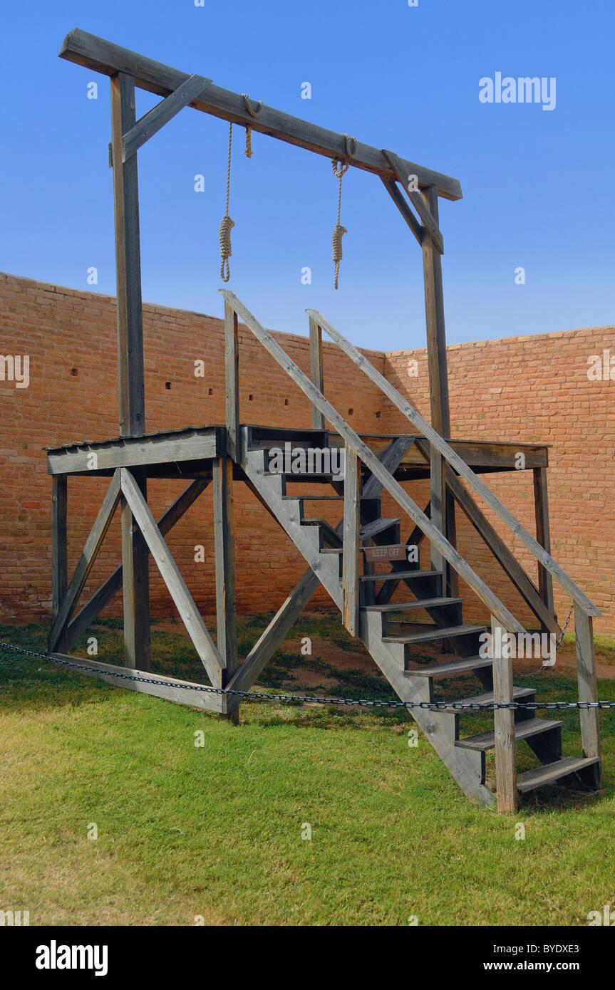 The gallows at Tombstone City Courthouse, Arizona, USA. This a reconstructed  gallows, original burned in 1912. - Stock Image