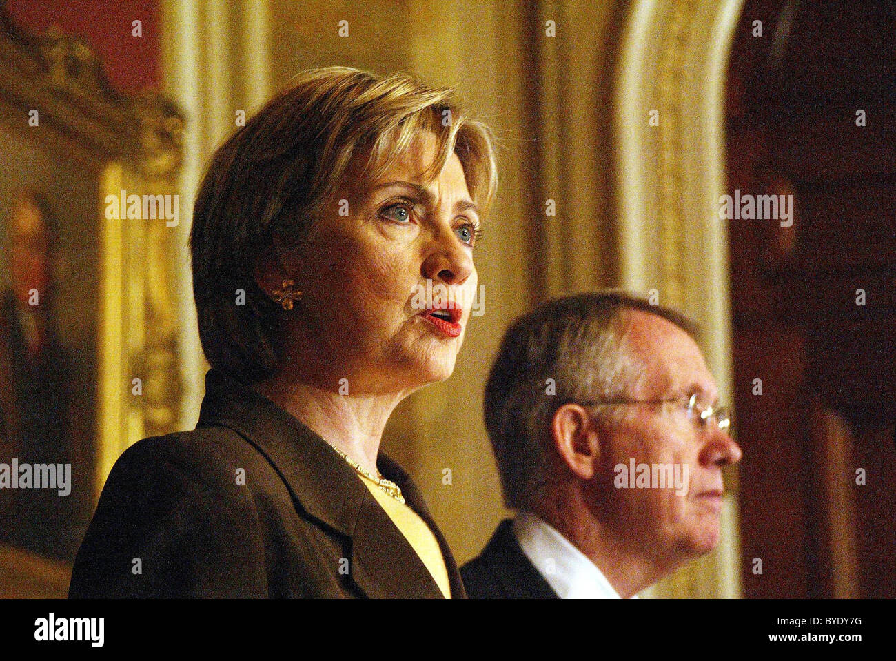 senator Hillary Clinton  spoke on prevention first to thwart unwanted pregnancies at the LBJ Room The Capitol Washington - Stock Image