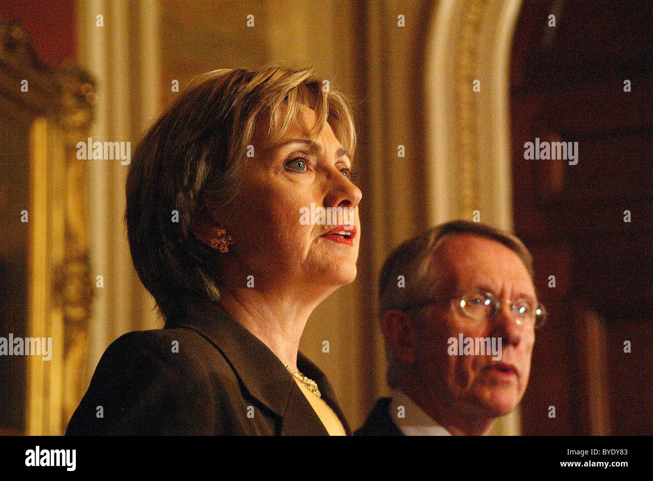 senator Hillary Clinton and senator Harry Reid spoke on prevention first to thwart unwanted pregnancies at the LBJ - Stock Image