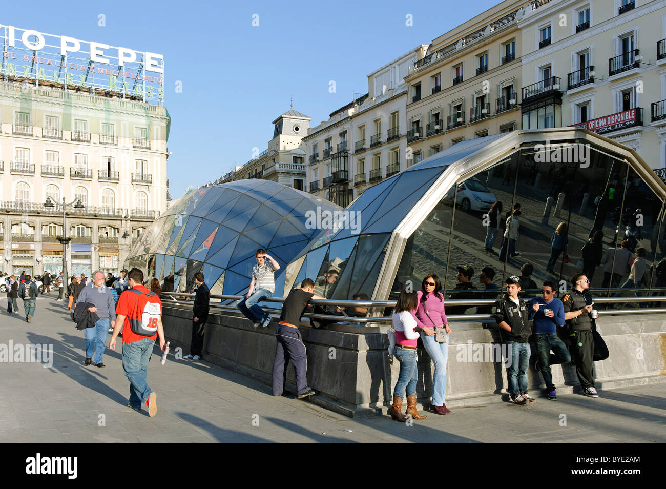 Metro station, Plaza Puerto del Sol, Madrid, Spain, Europe - Stock Image