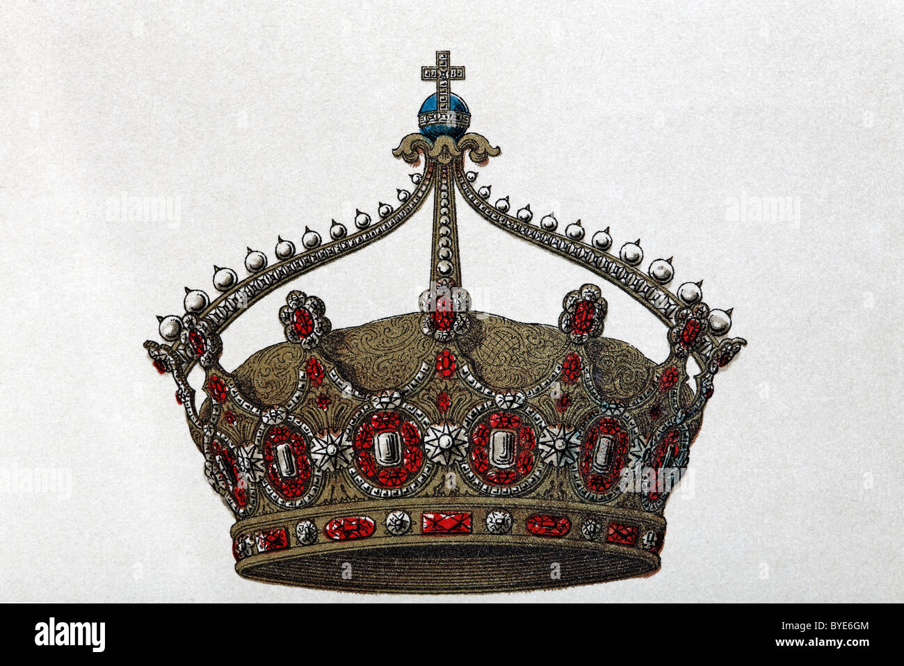 German imperial crown, Chromotafel, historical book illustration, Brockhaus Konversationslexikon, an encyclopaedia - Stock Image