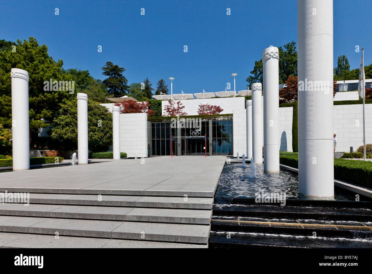 The Olympic Museum, opened in 1993 on the initiative of Juan Antonio Samaranch, Lausanne, Canton of Vaud, Lake Geneva - Stock Image