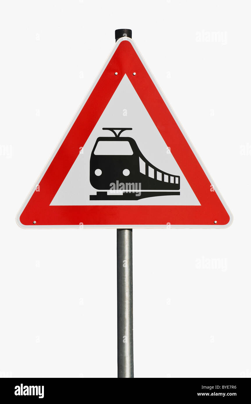 Traffic sign 151, danger sign, unguarded railway crossing - Stock Image