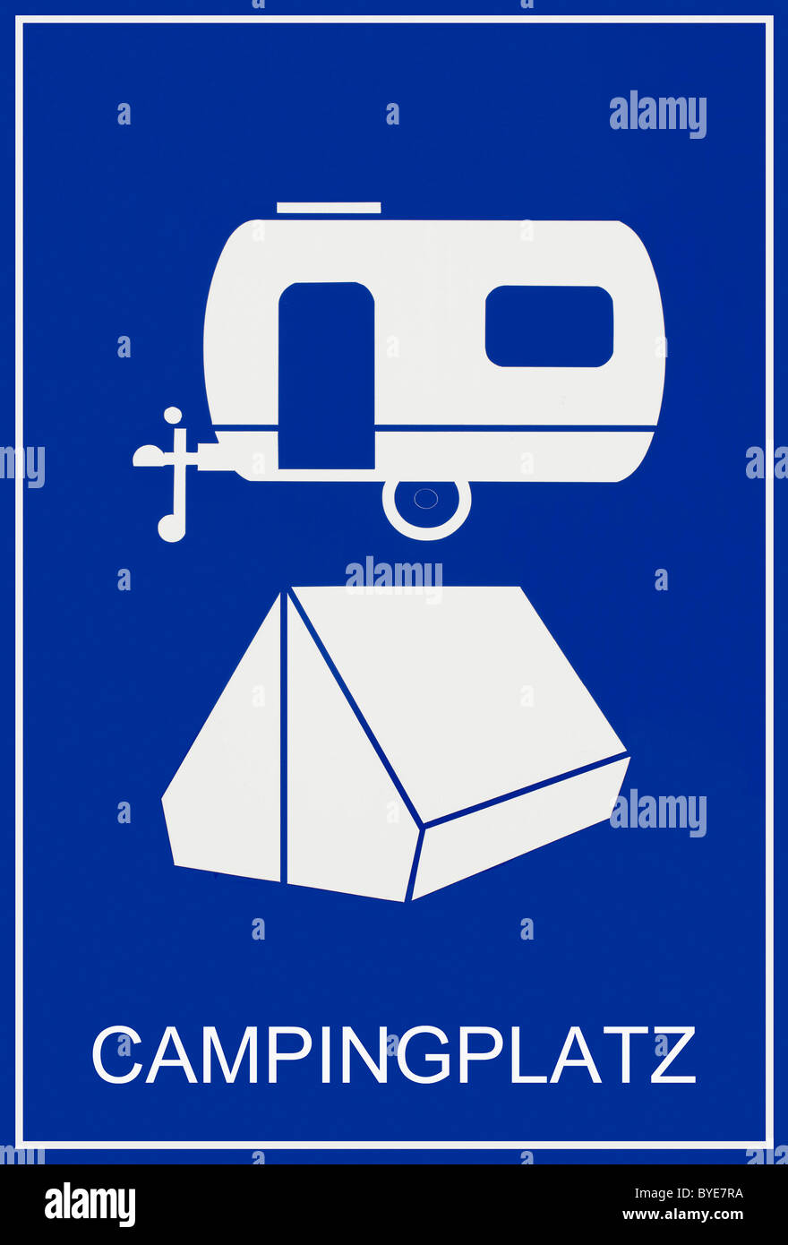 Blue sign, Campingplatz, German for campsite, with caravan and tent - Stock Image