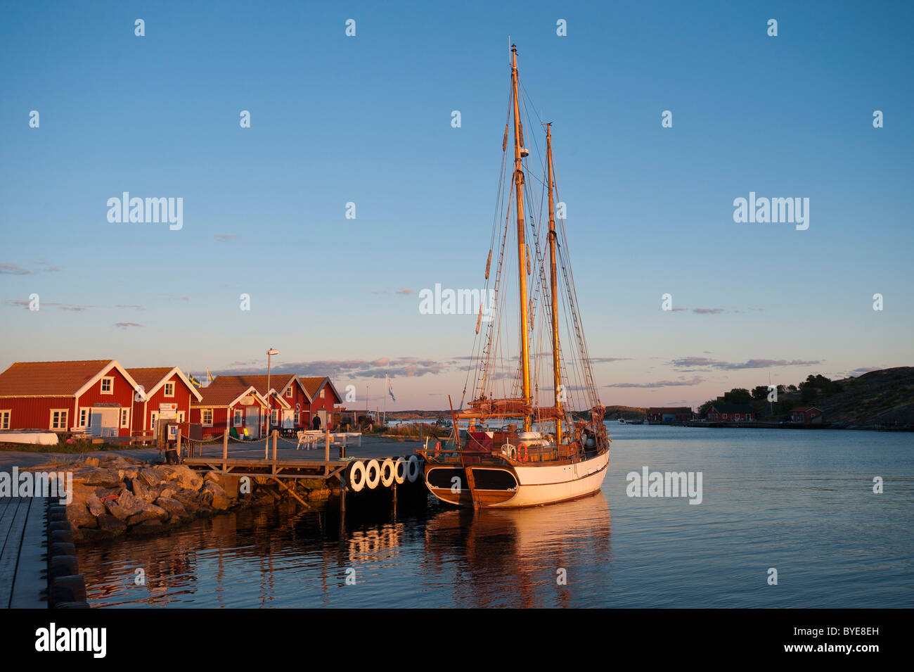 Sailing yacht anchored in the harbour, Molloesund, Vaestra Goetaland County, Sweden, Europe - Stock Image