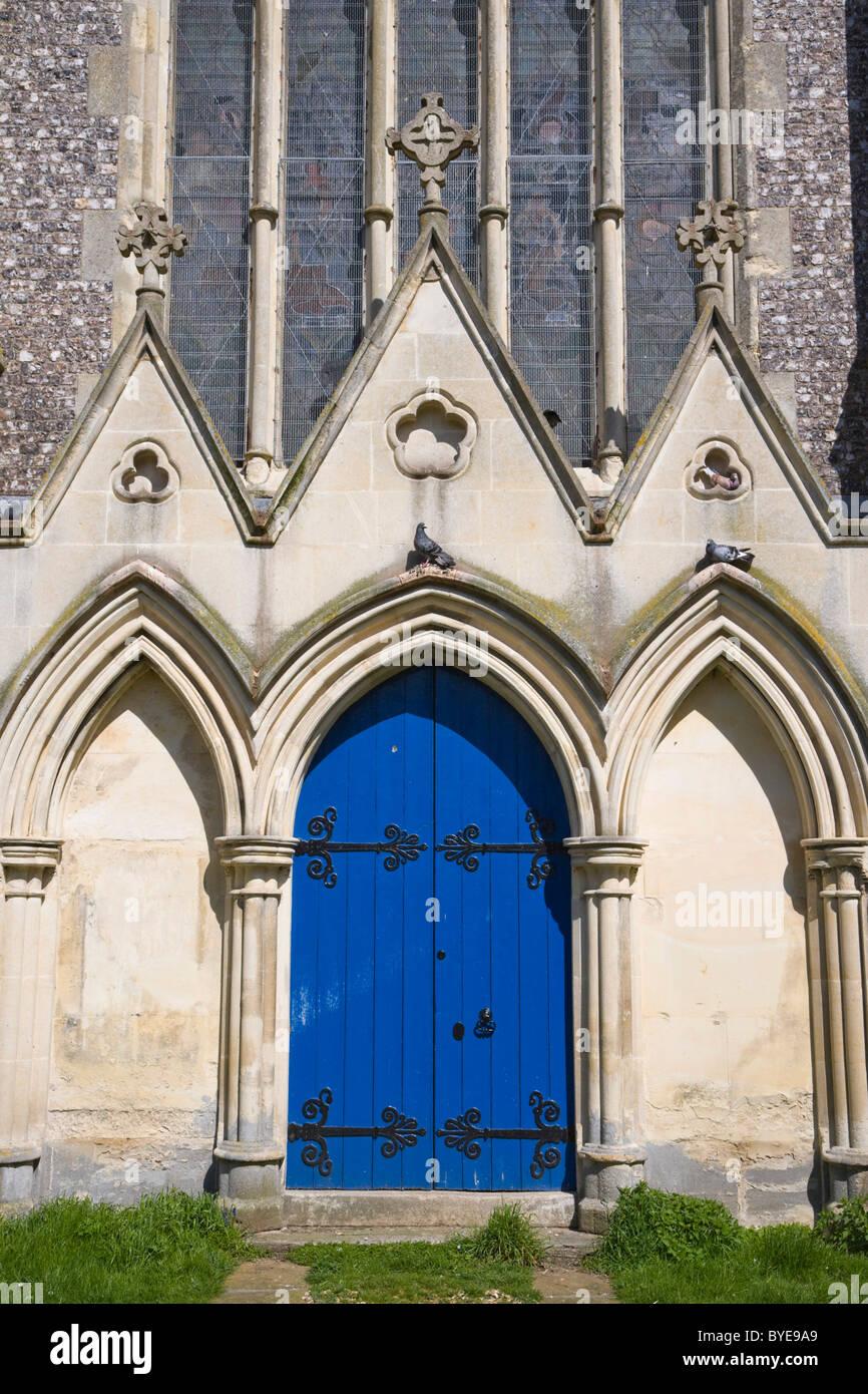 Door of St Mary Church, Andover, Hampshire, England, United Kingdom, Europe - Stock Image