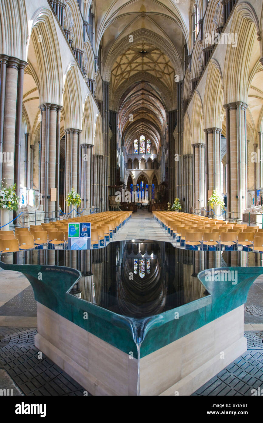 Font by William Pye, Salisbury Cathedral interior, Salisbury, Wiltshire, England, United Kingdom, Europe - Stock Image