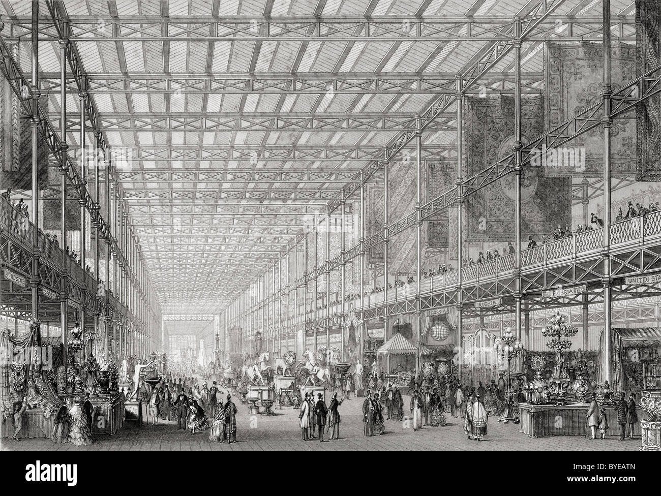 Interior of The Great Exhibition of the Works of Industry of all Nations in Hyde Park, London, England, 1851. - Stock Image
