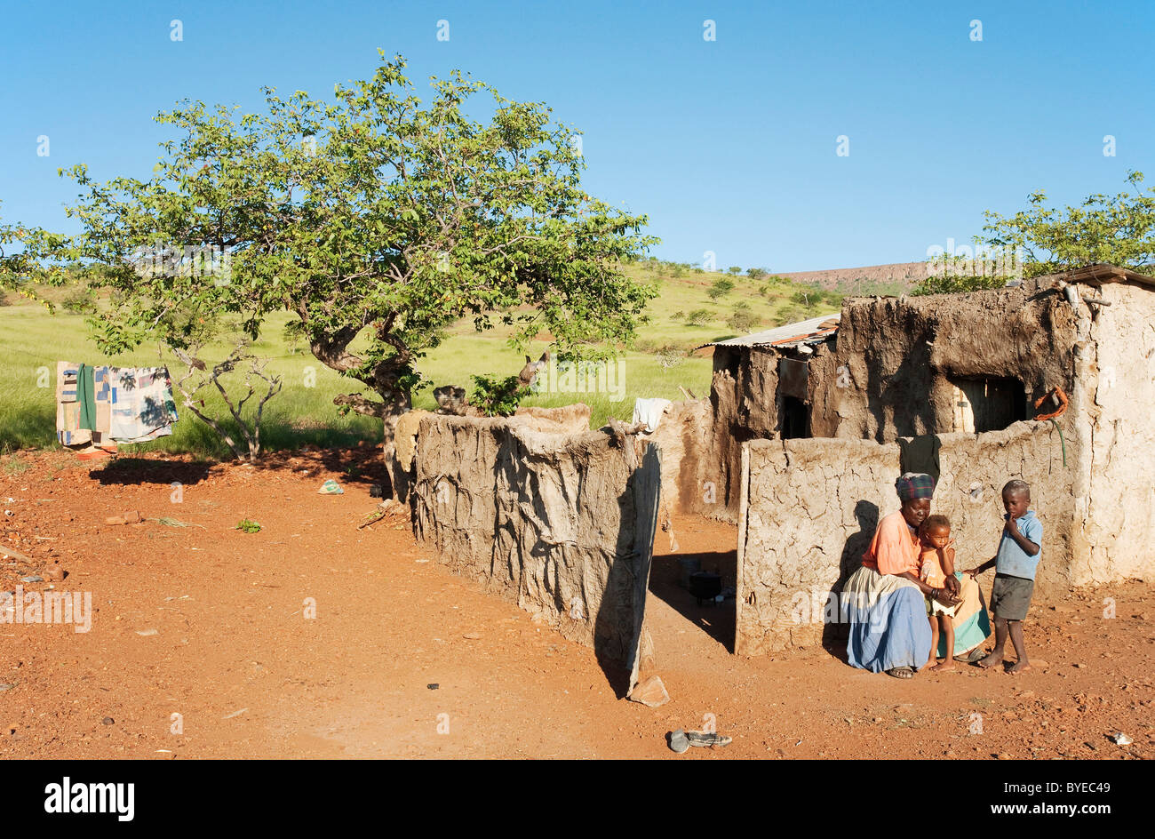 Modest home of a Damara family in the Damaraland with unusual green scenery after heavy rainfalls at the end of - Stock Image