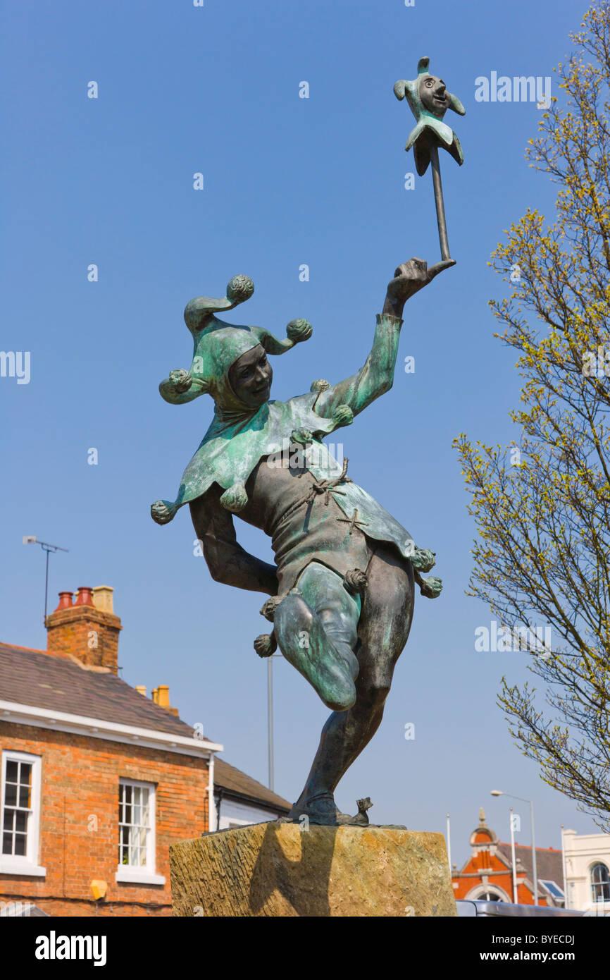 The Jester statue by James Butler, Henley Street, Stratford-upon-Avon, Warwickshire, England, United Kingdom, Europe - Stock Image