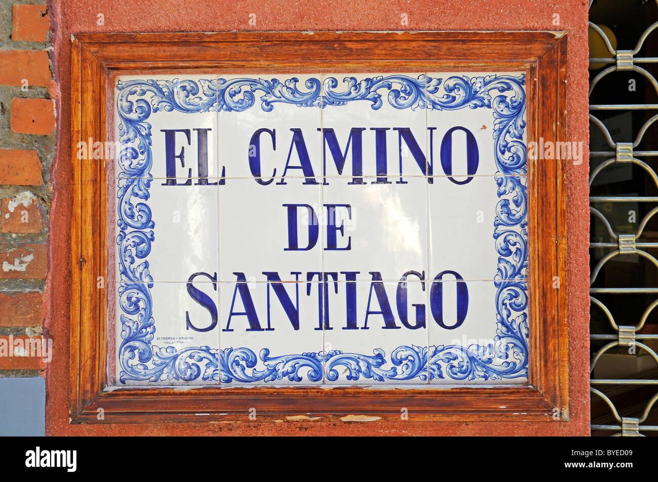 El Camino de Santiago, sign, Spanish tiles, azulejos, Leon, province of Castilla y Leon, Castile and León, - Stock Image