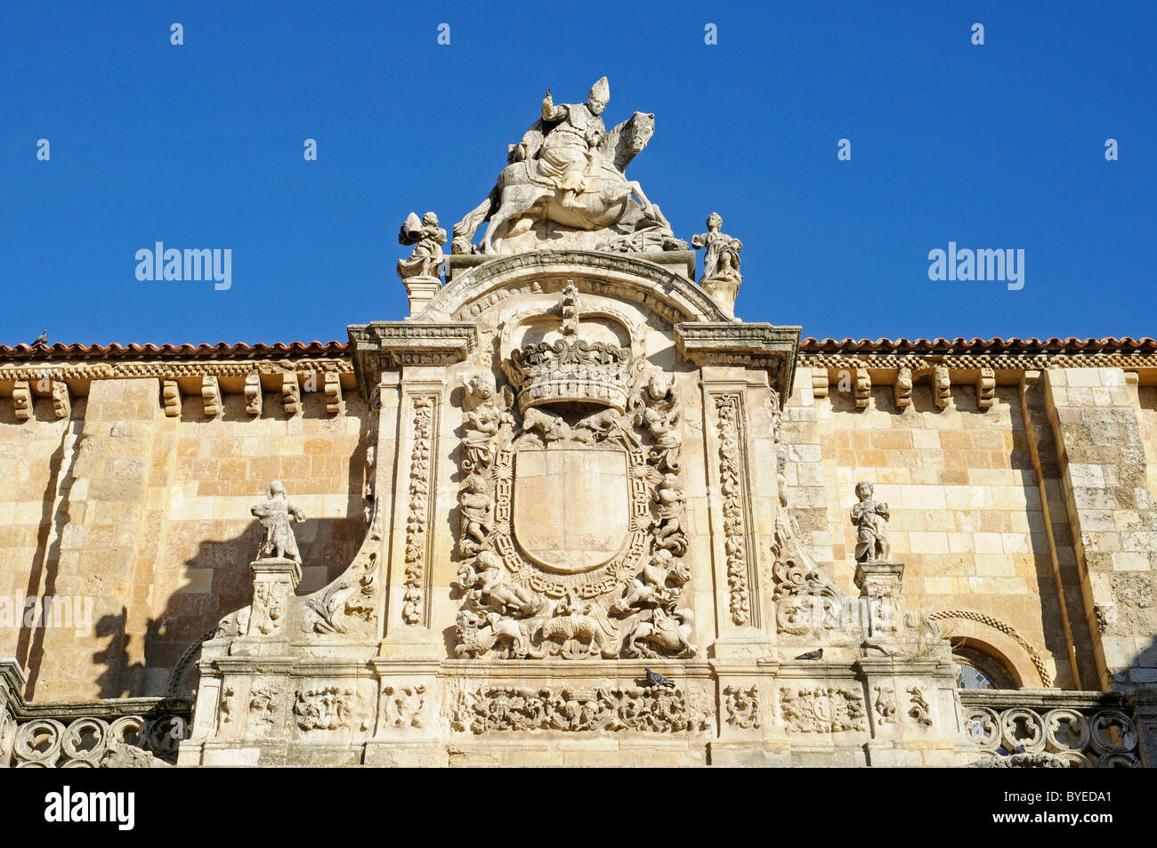 Coat of arms on the facade of Colegiata Real de San Isidoro, collegiate church, basilica, museum, Leon, Castilla Stock Photo