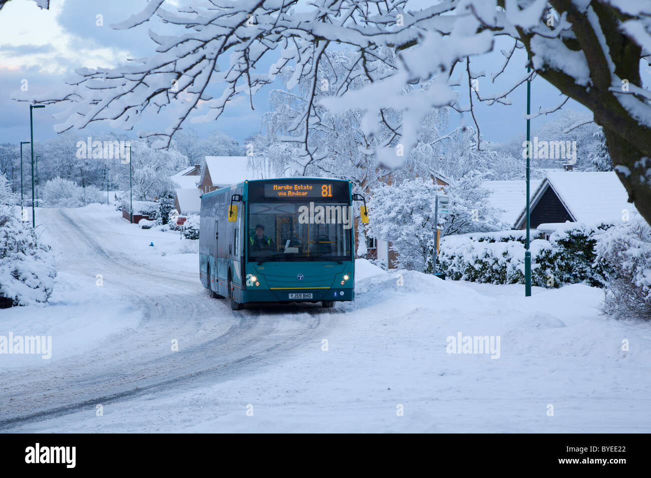 Public Transport in the snow, Guisborough Cleveland - Stock Image