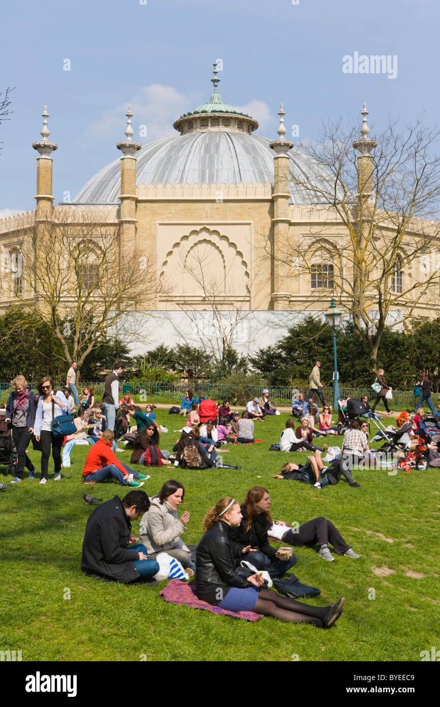 Brighton Dome from Royal Pavilion Gardens, Brighton, East Sussex, England, United Kingdom, Europe - Stock Image