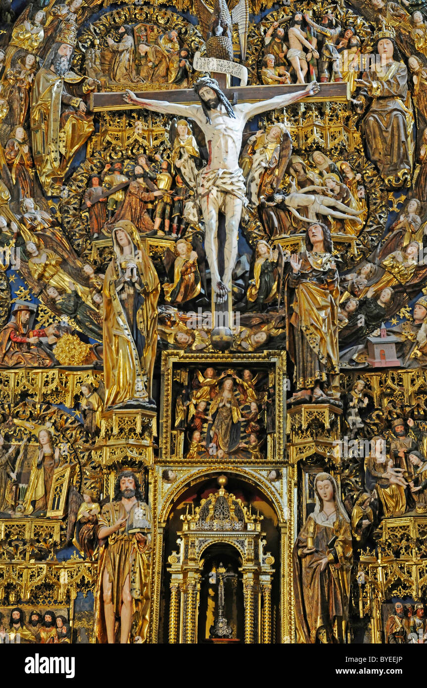 Christ, crucifix, altar of the church of Cartuja de Miraflores, Carthusian convent, Burgos, Castilla y Leon province, - Stock Image