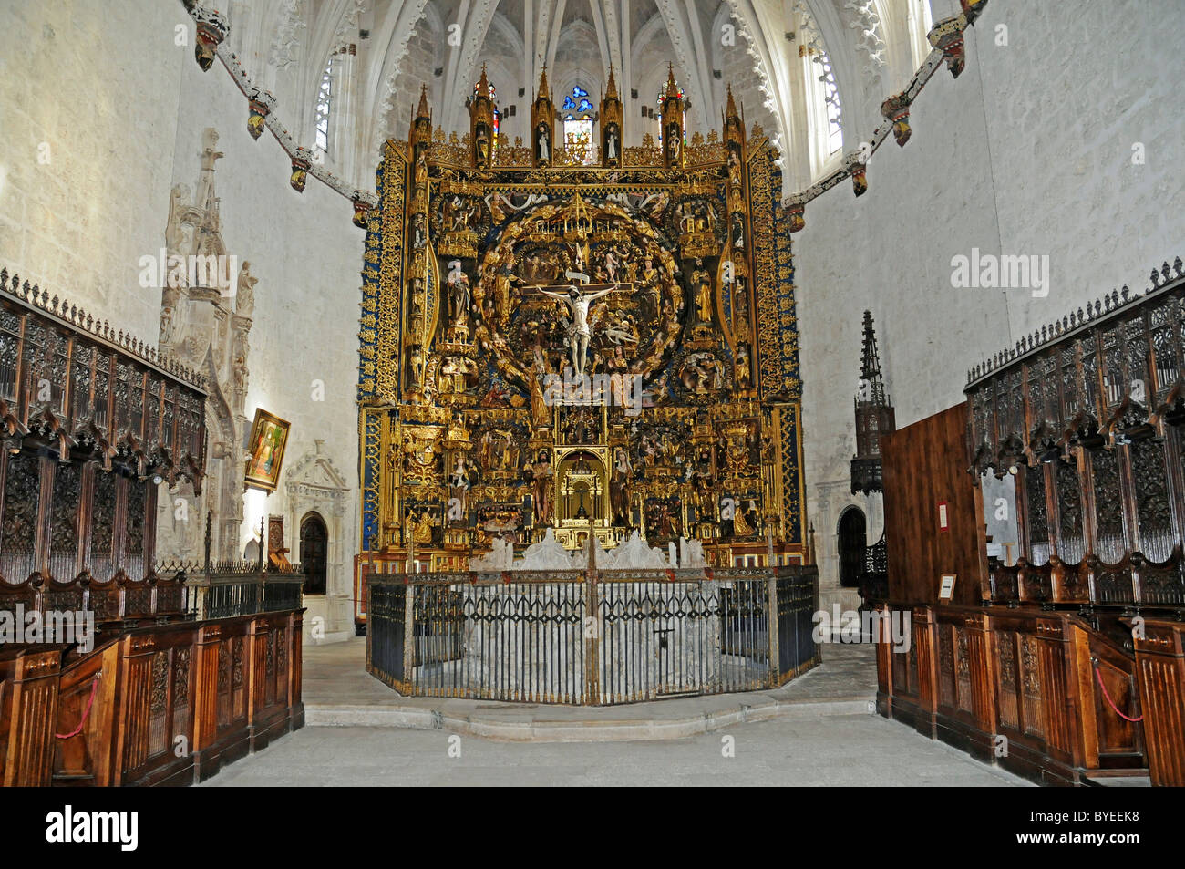 Altar of the church of Cartuja de Miraflores, Carthusian convent, Burgos, Castilla y Leon province, Spain, Europe - Stock Image